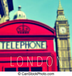 the word London and a red telephone booth and the Big Ben