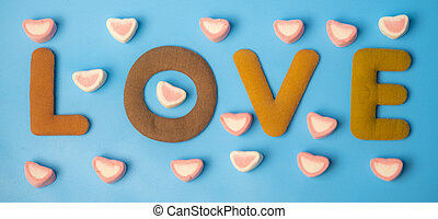 the word LOVE for Valentine's Day