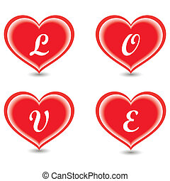 The word Love in hearts