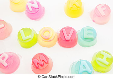 "word ""love"" in jelly isolated on white background - the word..."