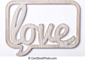 the word love on a white background