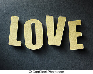 The word Love on paper background