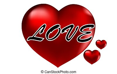 The word love on the background of the heart