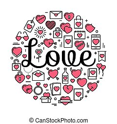 The word Love surrounded by icons and hearts. Vector background illustration for Valentine's day, wedding, celebration.
