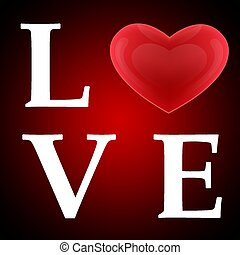 The word Love with a heart