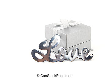 The word love with gift box