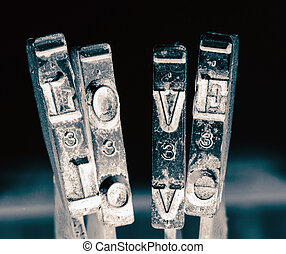 the word love with old typewriter hammers