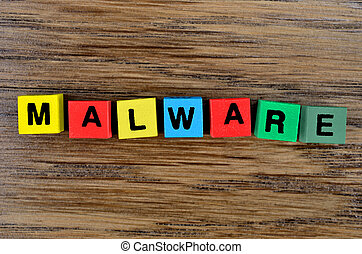 The word Malware on table