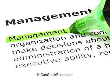 'Management' highlighted in green - The word 'Management'...