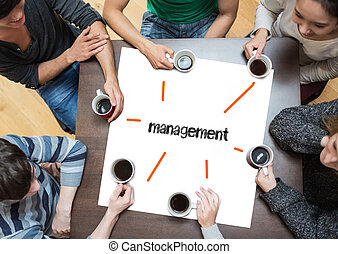The word management on page with people sitting around table...