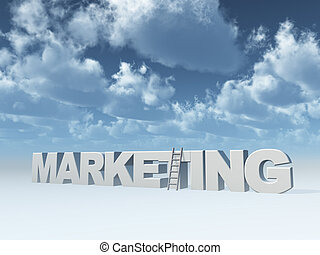 marketing - the word marketing and a ladder in front of blue...