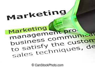 The word 'Marketing' highlighted in green with felt tip pen