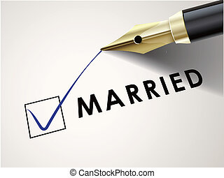 the word married on paper with a fountain pen