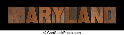 Maryland in old wood type