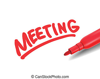 the word meeting with a red marker
