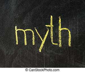 The word MYTH handwritten with chalk  on a blackboard