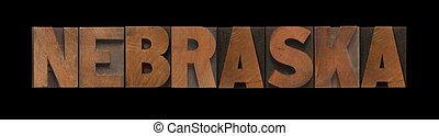 the word Nebraska in old letterpress wood type