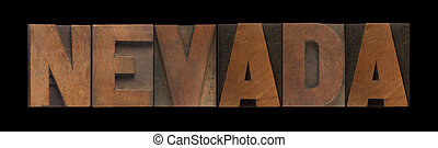 Nevada in old wood type