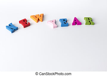The word new year on white background