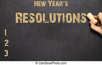 word New Year's resolution written on the blackboard