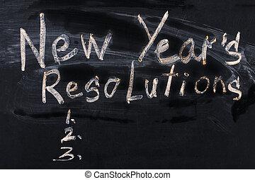 The word New Year's resolution written on the blackboard