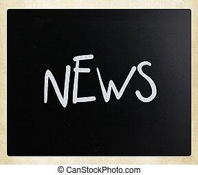 "The word ""News"" handwritten with white chalk on a blackboard"