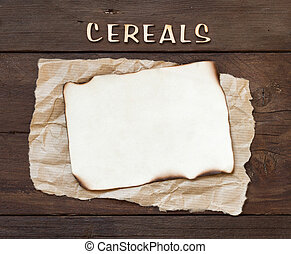 The word of Cereals with paper