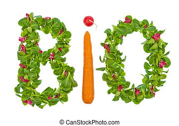 the word organic salad and vegetables from