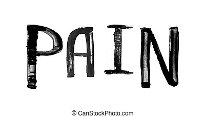 "The word ""PAIN"", handwritten grunge brush stroked lettering"