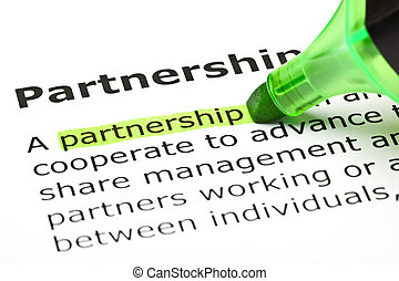 The word 'Partnership' highlighted in green with felt tip pen