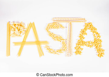 The word 'pasta' spelled with raw pasta