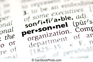 the word personnel from the dictionary showing a shallow depth of field