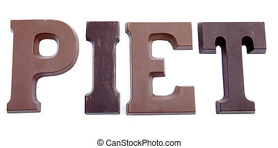 """The word """"PIET"""" in chocolate letters isolated on white background"""