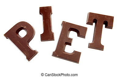 """The word """"PIET"""" in chocolate letters isolated on white..."""