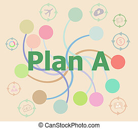 The word plan a on digital screen, business concept . Futuristic graphic user interface