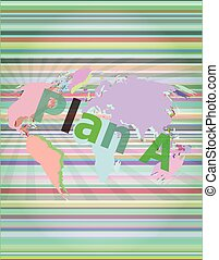 The word plan a on digital screen, business concept vector illustration