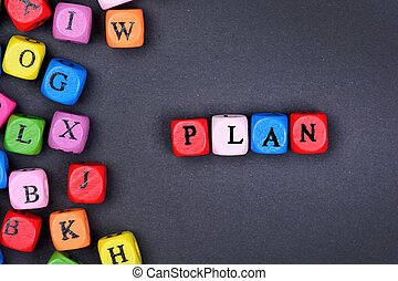 The word Plan on black background