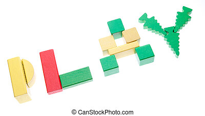 The word play written in colorful wooden building blocks