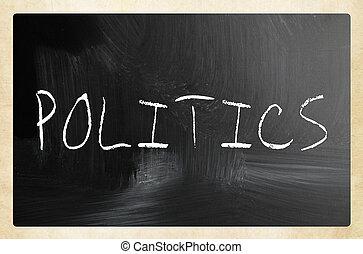 The word 'Politics' handwritten with white chalk on a blackboard