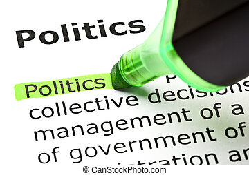 'Politics' highlighted in green - The word 'Politics'...