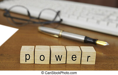 The word power on wood stamp