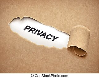 the word privacy behind brown torn paper
