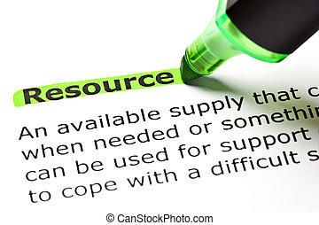 The word 'Resource' highlighted in green with felt tip pen