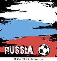The word Russia and soccer ball on the background of the Russian flag