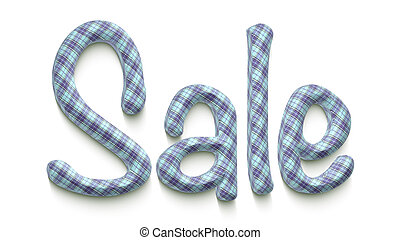 The word sale with a clothes texture