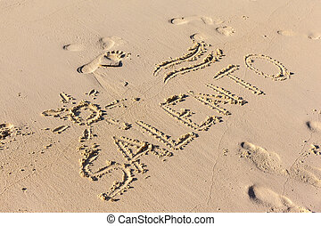 Salento - The word Salento written on the sand in a sunny ...