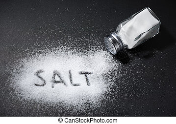 The word salt written into a pile of white salt and salt ...