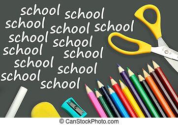 The word School on chalkboard