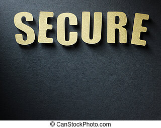 The word Secure on paper background