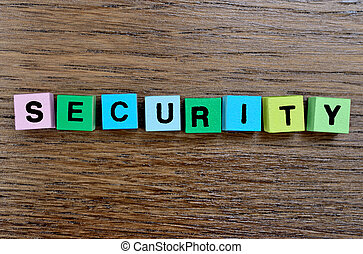 The word Security on table
